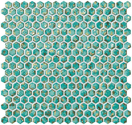 мозаика, Dwell Turquoise Hexagon Gold, 30x28,5